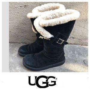 UGG Black Suede Buckle On Side Boots Sz 8